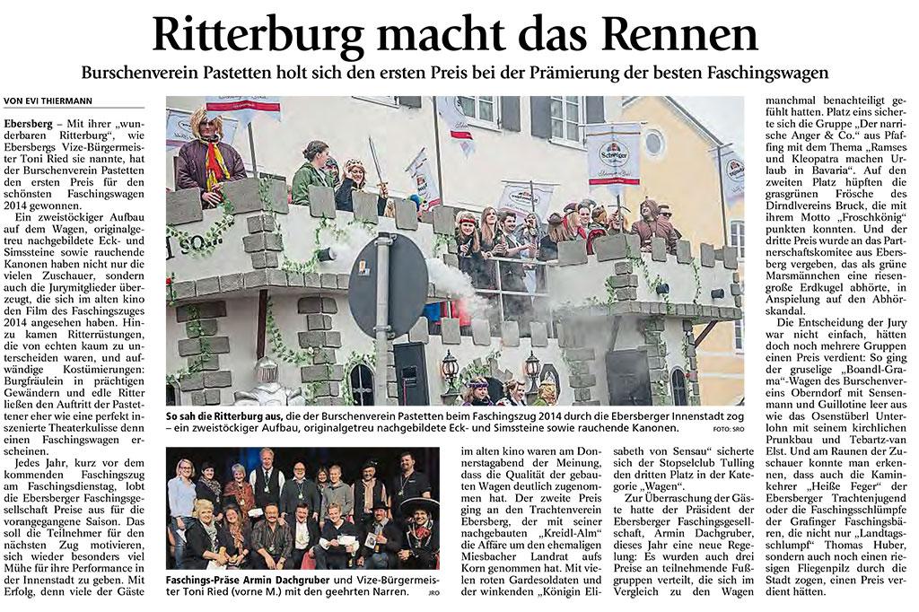 Zeitungsbericht 1.Preis in Ebersberg (Ebersberger Anzeiger ...